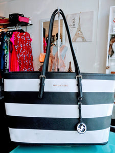 Black & White Striped Michael Kors Tote Bag
