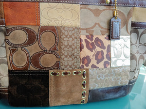 Brown Coach Patchwork Shoulder Bag