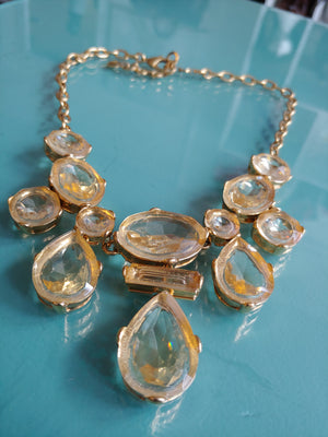 Gold Tone Statement Necklace with Clear Yellow Stones