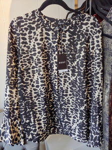 Black and Beige Print DKNY Blouse Size 14