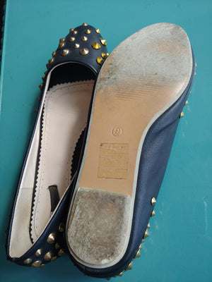 Black BDG Flats with Gold Studs, size 9