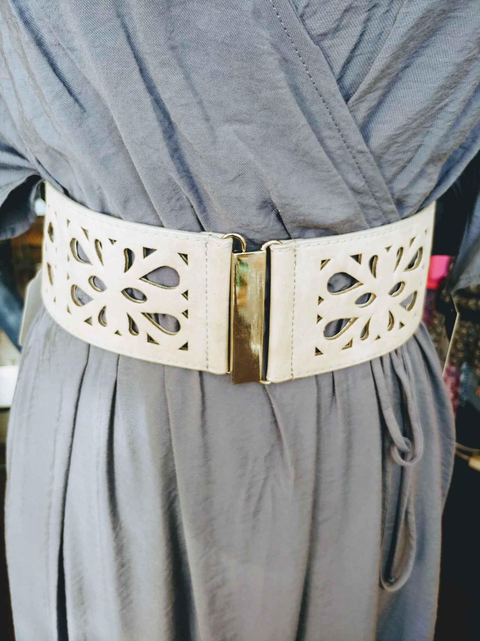 Gray Eyelit Stretch Belt