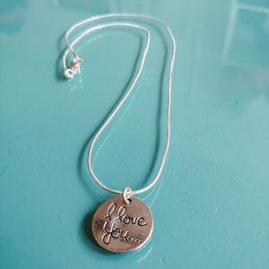 Sterling I Love You Necklace