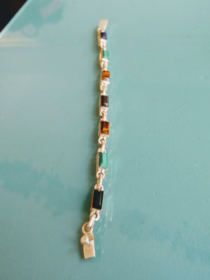 Sterling Silver Bracelet with Tiger Eye, Onyx & Malachite