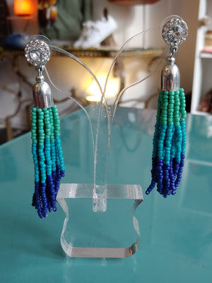Blue Seed Bead Drop Earrings