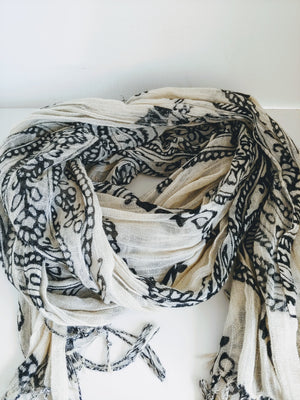 White & Black Printed Scarf, Light with Fringe