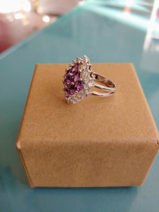 Purple & CZ Marquis Style Sterling Ring, size 6