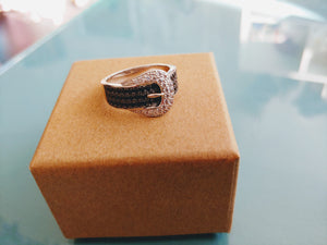 Black & White CZ Belt Ring, size 9
