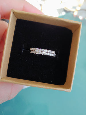 Delicate CZ & Silver Tone Bands, size 6