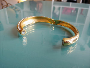 Gold Tone & CZ Bangle Cuff Bracelet
