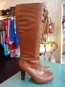 Brown Ralph Lauren Lace Up Tall Boots, size 7.5