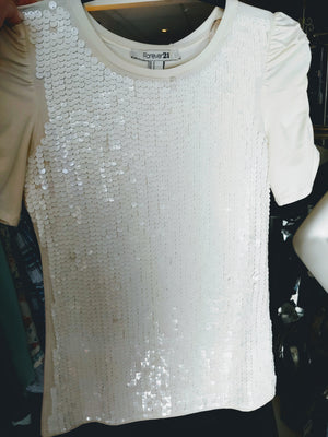 White Forever 21 Shirt with White Sequins, size S