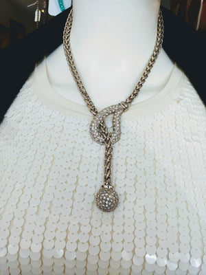 Silver Tone Chain Necklace with Rhinestone Pendant