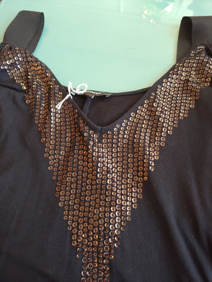 Black Express Top With Black Sequins, size XS