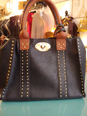 Black & Brown Satchel Tote Bag