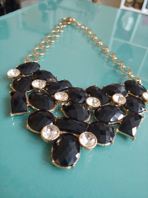 Black and Gold statement Neckalce with CZ Style Stones