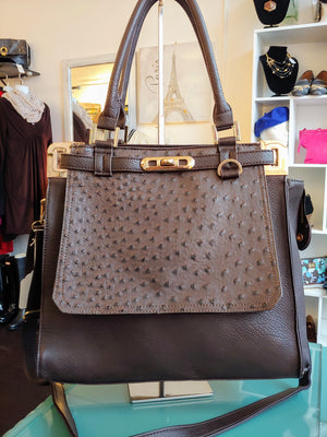 Dark Brown Ostrich Style Bag