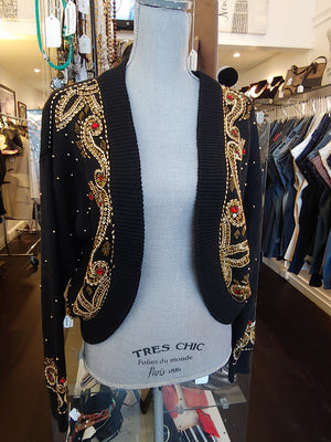 Black Cardigan with Gold Beading