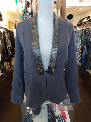 Gray Sophie Rue Blazer with Beading, size S