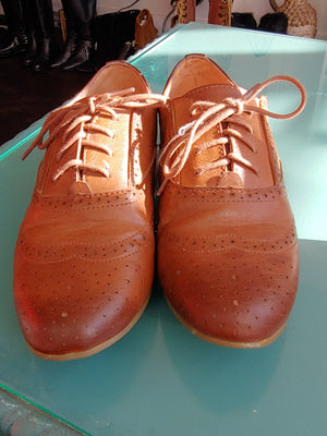 Brown Madden Girl Lace Shoes, size 8.5