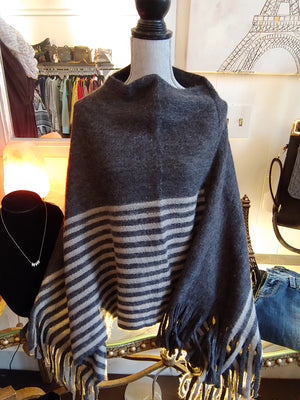 Gray Poncho with Fringe, One Size