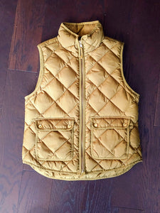 Green Quilted JCrew Vest, size PM