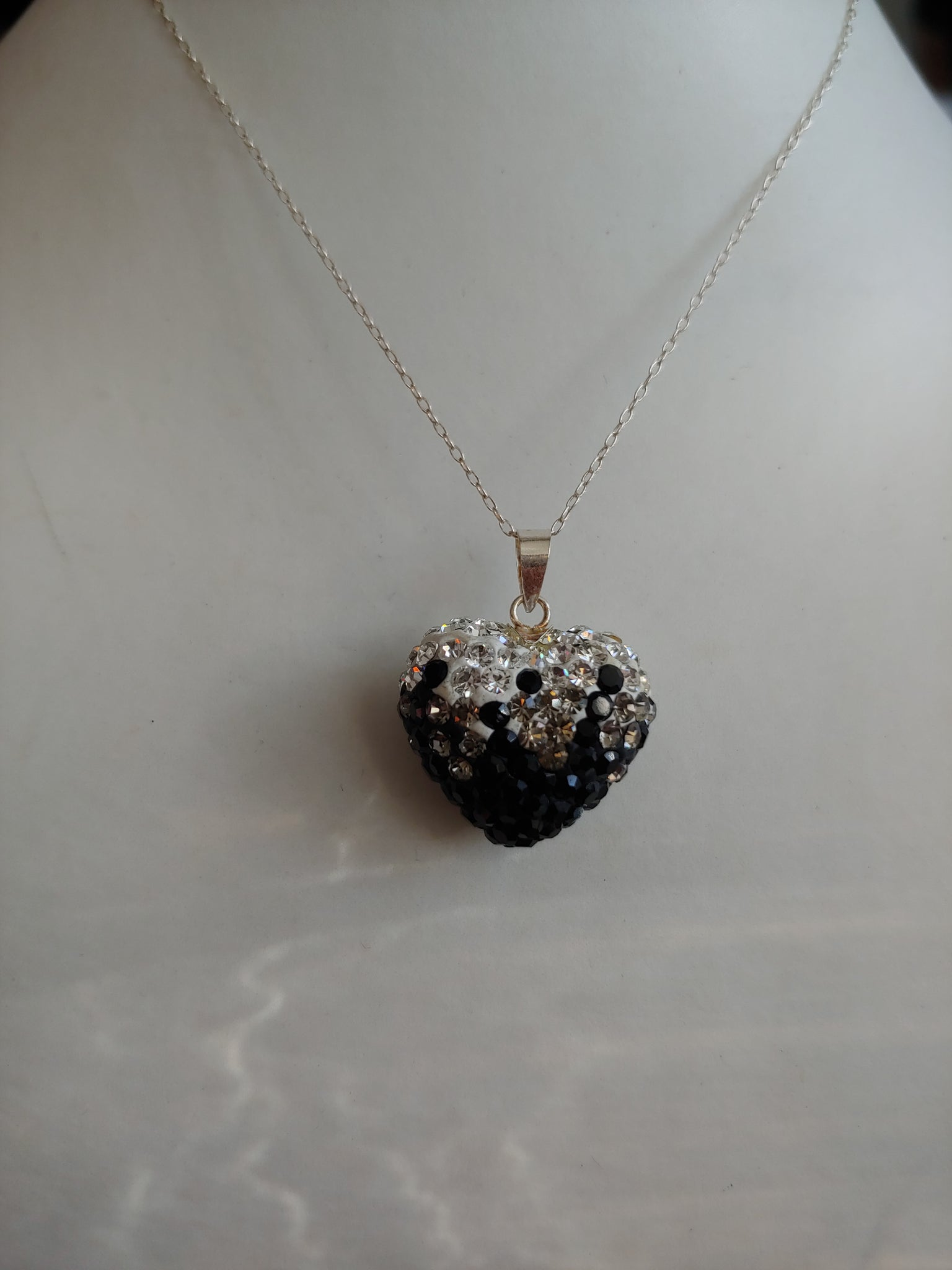 Black & White Swarovski Heart Pendant Necklace