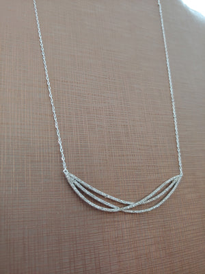 Silver Tone Necklace with Small CZ design