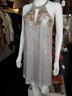 Gray & Multicolor Beaded Parker Dress, size M