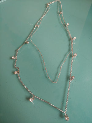 Silver Tone Chain Necklace with Small CZ Stones