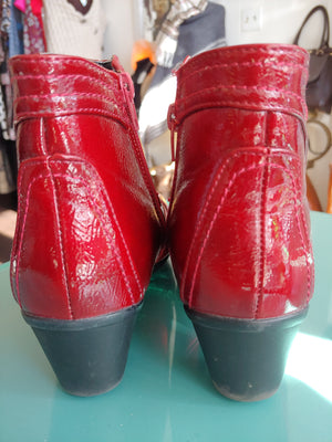Red Patent Heavenly Feet Ankle Boots, size 37