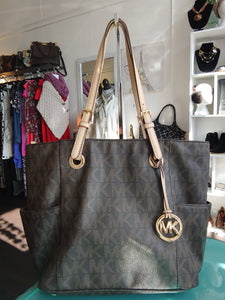 Brown Canvas Michael Kors Tote Bag