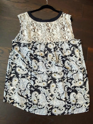 Beige, Black Sheer Daniel Rainn Tank Top, size 1X