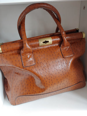 Burnt Orange Ostrich Style Bueno Satchel Bag