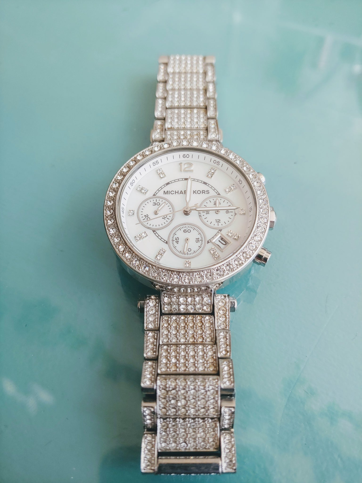 Silver & Pave Crystal Michael Kors Watch