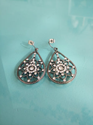Pewter & CZ Style Teardrop Earrings