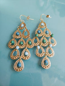Gold Tone Chandelier Earrings