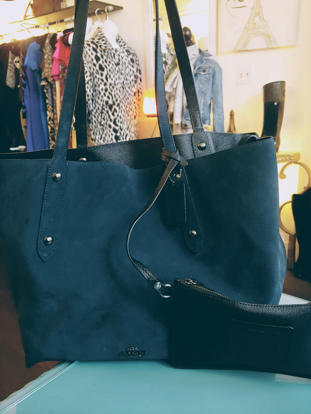 Navy Blue Suede Coach Bag