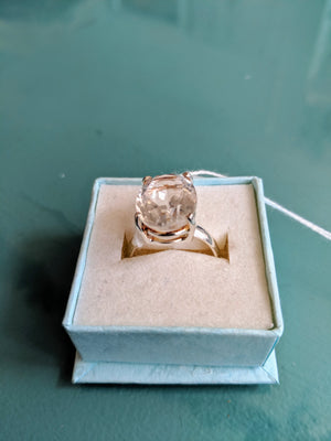 Sterling Silver & Crystal Quartz Ring, size 8