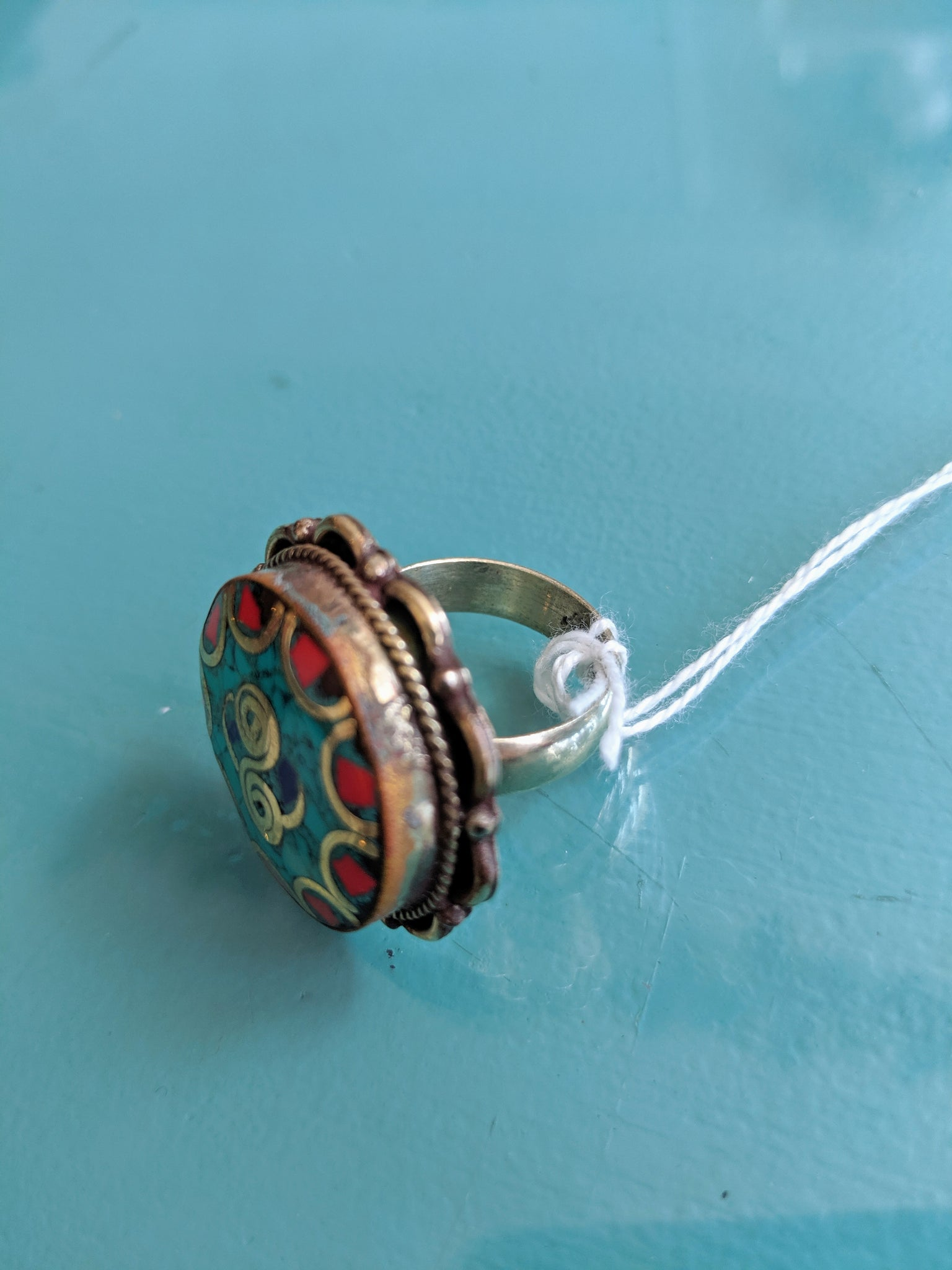 Turquoise & Red Brass Tibetan Ring, size 9