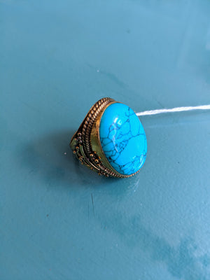 Oval Brass & Howlite Ring, size 8