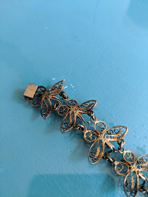 Vintage Brass Butterfly Bracelet & Earrings