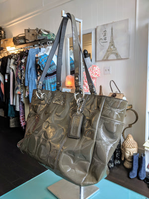 Gray Patent Leather Coach Shoulder Bag