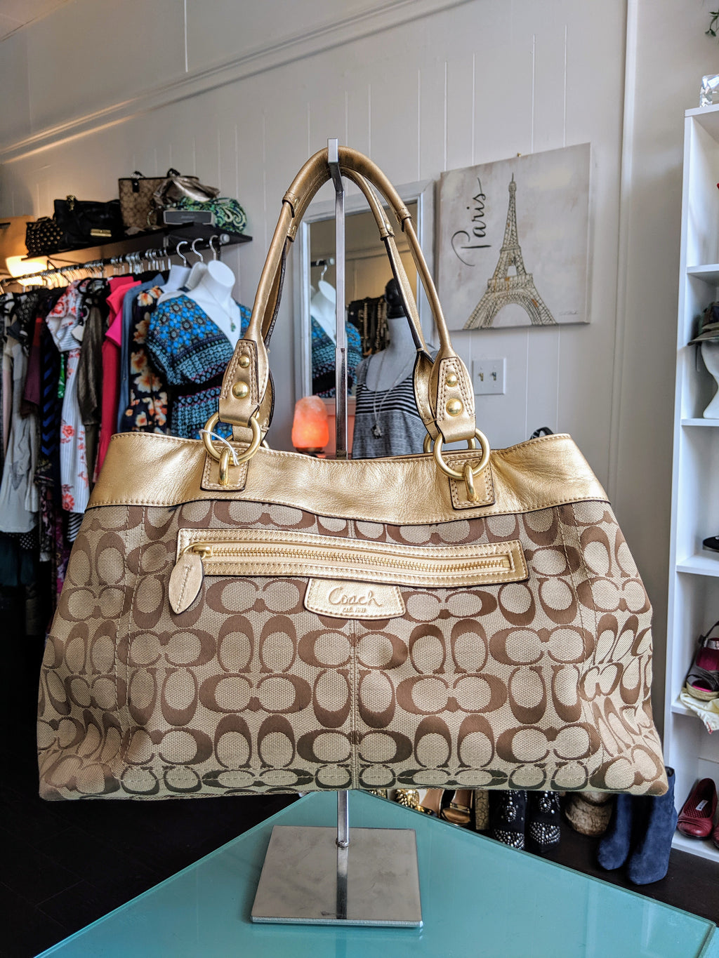 Gold Tone Coach bag with Brown Monogram