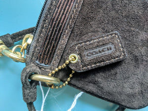 Brown Suede Coach Wristlet