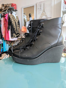 Black Pierre hardy ankle wedge boots