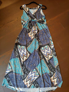 Long Blue Pattern NY Collection Dress, size L