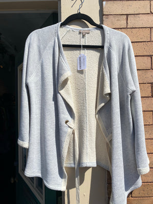 Beige/ Light Gray Lilla Cardigan Sweater, size L