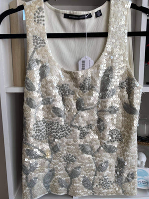 White Michelle Nicole Sequin Tank Top, size M