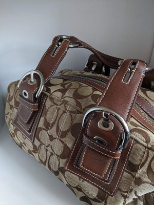 Brown Canvas Coach Bag with Brown Leather & Silver Tone Hardware
